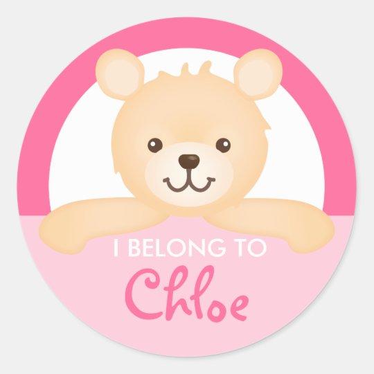 Teddy Bear Property Label (pink)