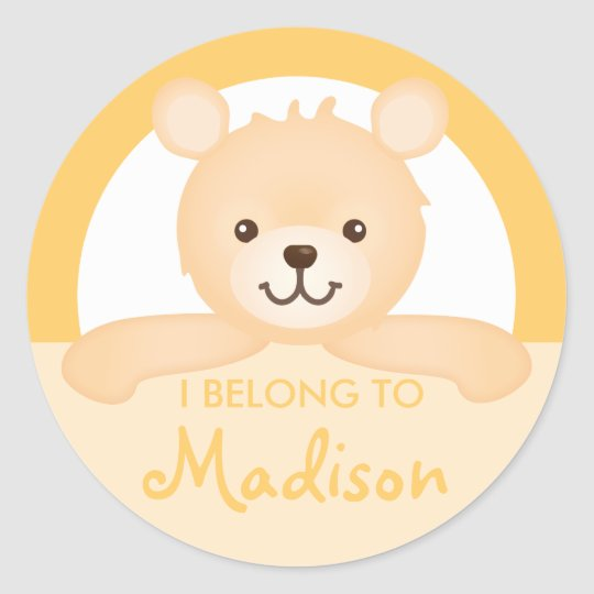 Teddy Bear Property Label (Yellow)