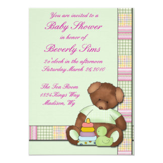 Teddy Bear Quilt Baby Shower Card