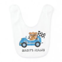 Teddy Bear Race Car Baby Bib