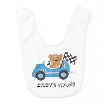Teddy Bear Race Car Baby Bib