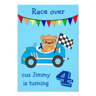 Teddy Bear Race Kids Birthday Party 3.5x5 Paper Invitation Card