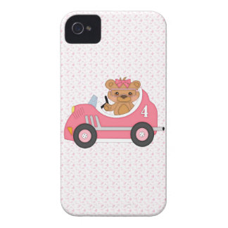 Teddy Bear Racer (pink) iPhone 4 Covers