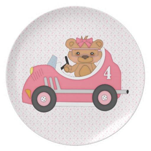 Teddy Bear Racer (pink) Plates