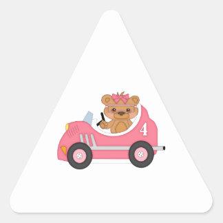 Teddy Bear Racer (pink) Triangle Sticker