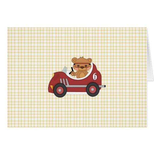 Teddy Bear Racer (red) Greeting Card