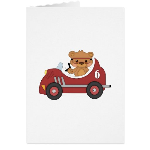 Teddy Bear Racer (red) Greeting Cards