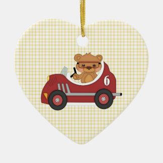 Teddy Bear Racer (red) Ceramic Ornament