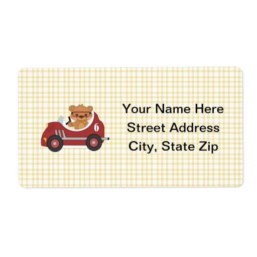 Teddy Bear Racer (red) Custom Shipping Labels
