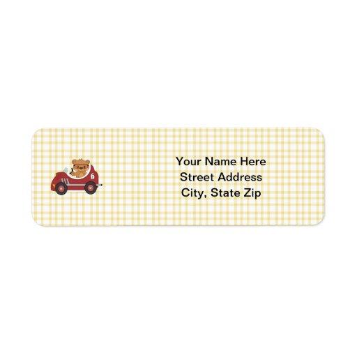 Teddy Bear Racer (red) Return Address Label