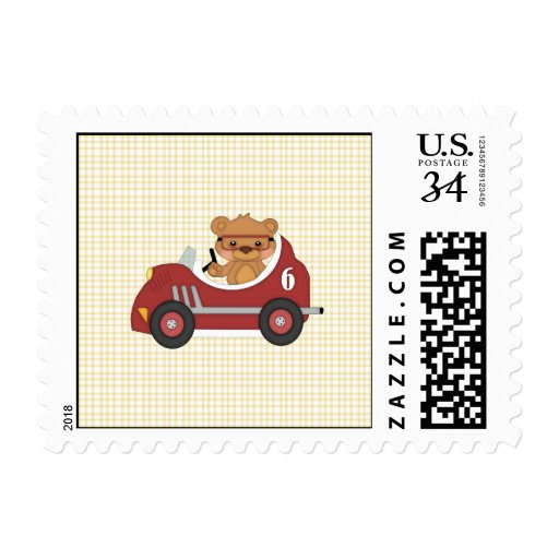 Teddy Bear Racer (red) Stamps