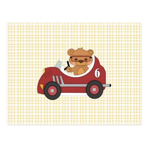 Teddy Bear Racer (red) Postcard