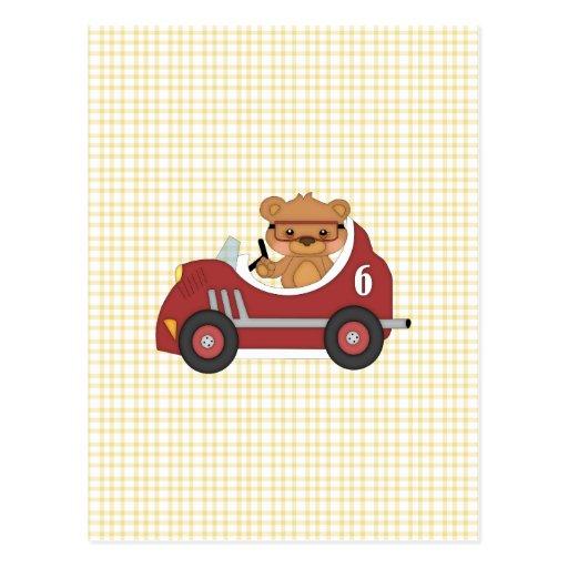 Teddy Bear Racer (red) Post Cards