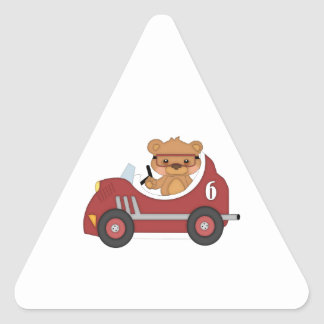 Teddy Bear Racer (red) Triangle Sticker