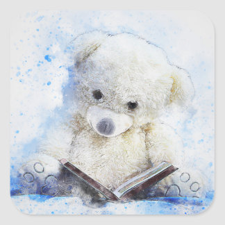 Teddy Bear Reading Classic Square Stickers