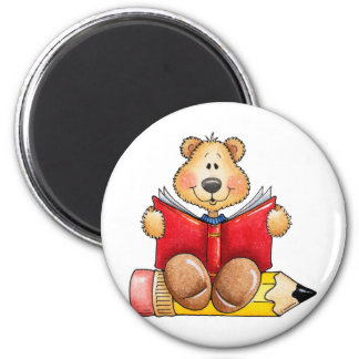 Teddy Bear Reading 2 Inch Round Magnet
