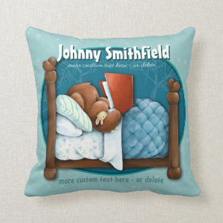 Teddy Bear reading story in bed CUSTOM pillow