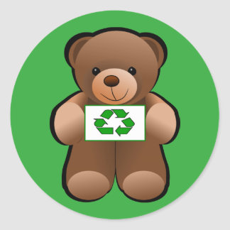 Teddy Bear Recycle Symbol Design Classic Round Sticker