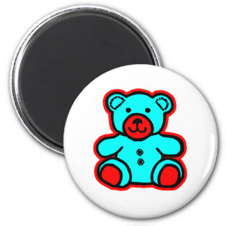 Teddy Bear Red Cyan The MUSEUM Zazzle Gifts Refrigerator Magnets