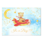 Teddy Bear Red Plane Baby Stars Boy Shower Invitation