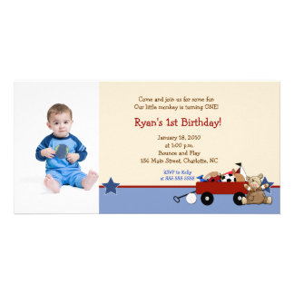 Teddy Bear Red Wagon 8x4 Birthday Photo Card