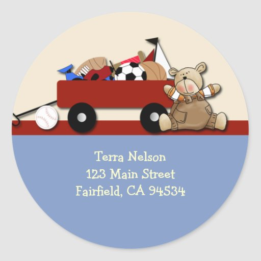 Teddy Bear Red Wagon Address Label Sticker