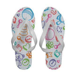 Teddy Bear Retro Cute Kids Children Pattern Flip-Flops