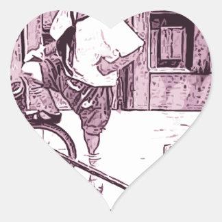 Teddy Bear Rides Heart Sticker