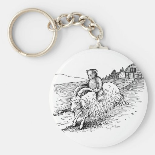 Teddy Bear Riding a Goat Key Chains