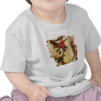 Teddy bear riding a rocking horse for kids t shirts