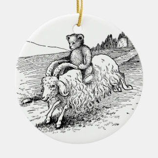 Teddy Bear Riding Angora Goat Ceramic Ornament