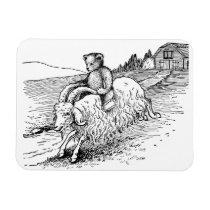 Teddy Bear Riding Angora Goat Magnet