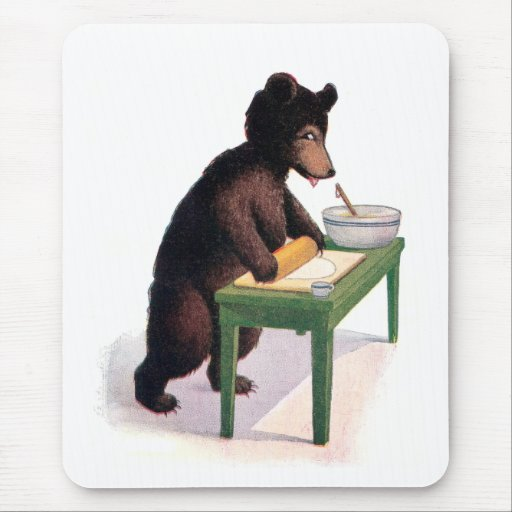 Teddy Bear Rolling Dough for Biscuits Mousepads