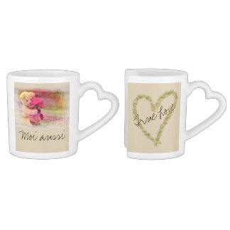 Teddy Bear Rose True Love Forever Coffee Mug Set