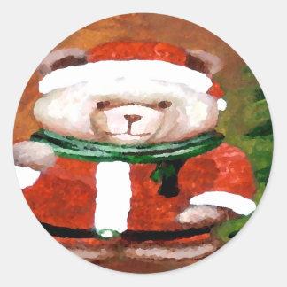Teddy Bear Santa Christmas Fun Holiday Bear Classic Round Sticker