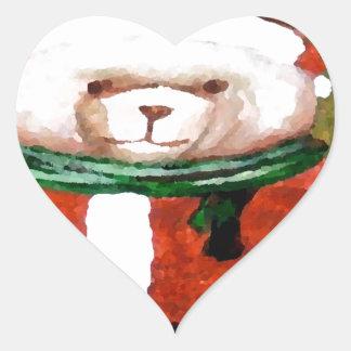 Teddy Bear Santa Christmas Fun Holiday Bear Heart Sticker