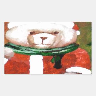 Teddy Bear Santa Christmas Fun Holiday Bear Rectangular Sticker