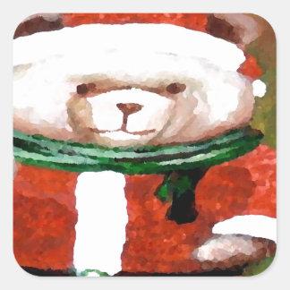 Teddy Bear Santa Christmas Fun Holiday Bear Square Sticker