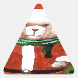 Teddy Bear Santa Christmas Fun Holiday Bear Triangle Sticker