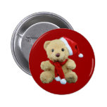 Teddy Bear Santa Pinback Buttons