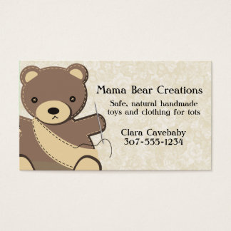 Teddy bear seamstress sewing handmade toys business card