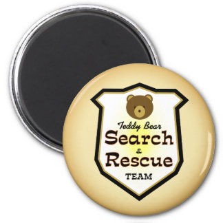Teddy Bear Search and Rescue Team 2 Inch Round Magnet