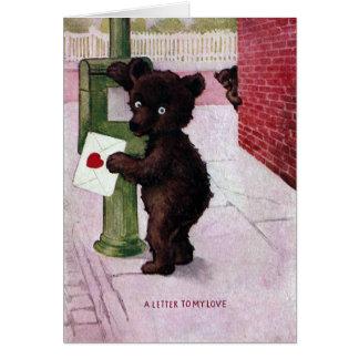 Teddy Bear Sending Love Letter Card