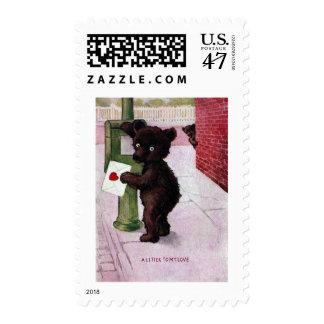 Teddy Bear Sending Love Letter Postage
