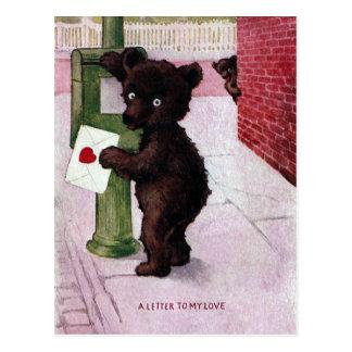 Teddy Bear Sending Love Letter Postcard