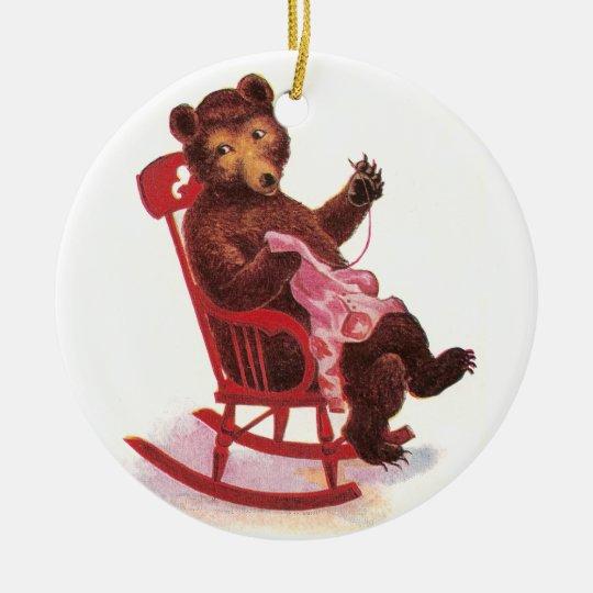 Teddy Bear Sewing Clothes Ceramic Ornament