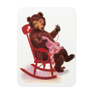 Teddy Bear Sewing Clothes Rectangular Photo Magnet