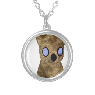 Teddy bear silver plated necklace