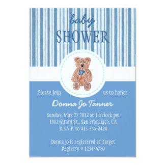 Teddy Bear Sketch Baby Shower Invitation - Blue