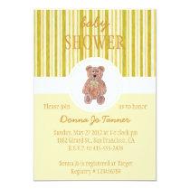 Teddy Bear Sketch Baby Shower Invitation - Yellow